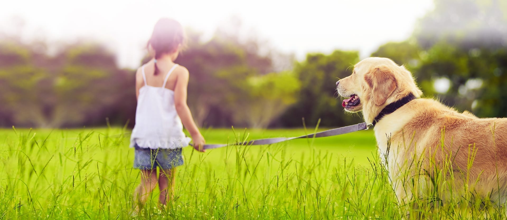 Girl and dog in communities