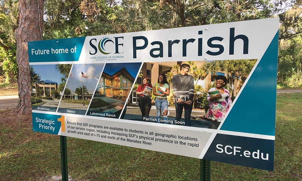 State College of Florida Parrish sign
