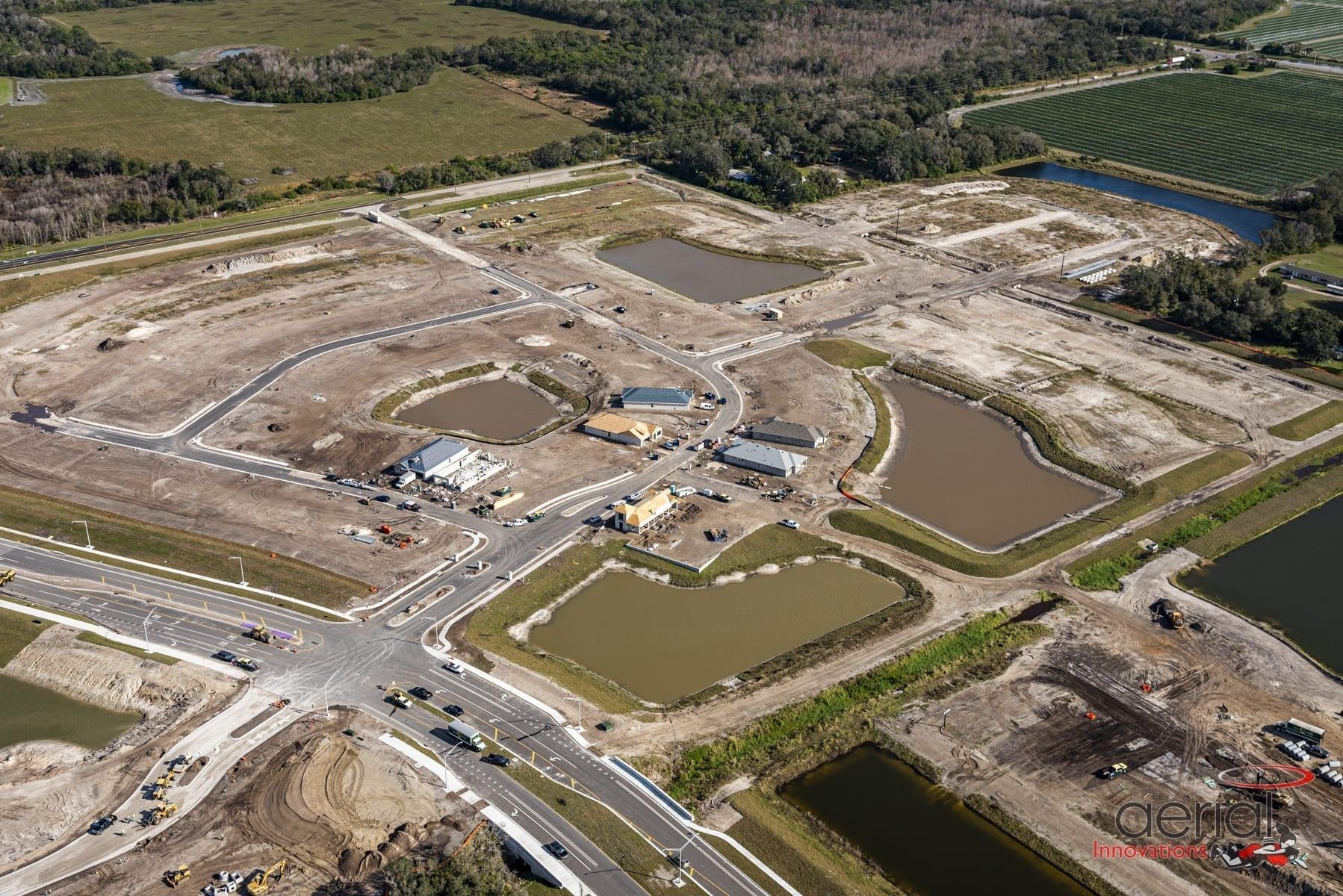 Aerial of land development Parrish Florida