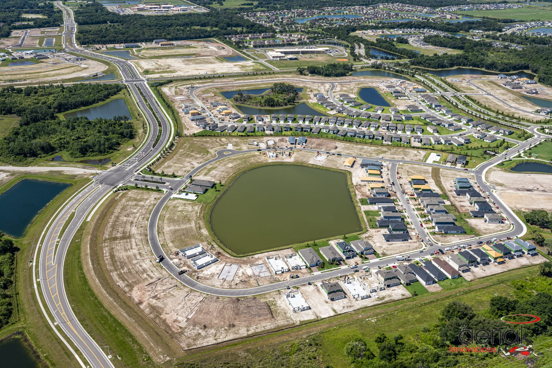 Aerial view new home construction Manatee County