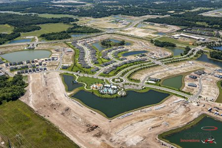 Aerial of new housing development and clubhouse north river ranch