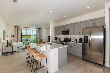 White island grey cabinets modern kitchen north river ranch